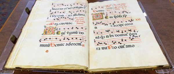 Image of a large antiphonary, or song book used by a choir. It likely dates between the sixteenth and eighteenth centuries