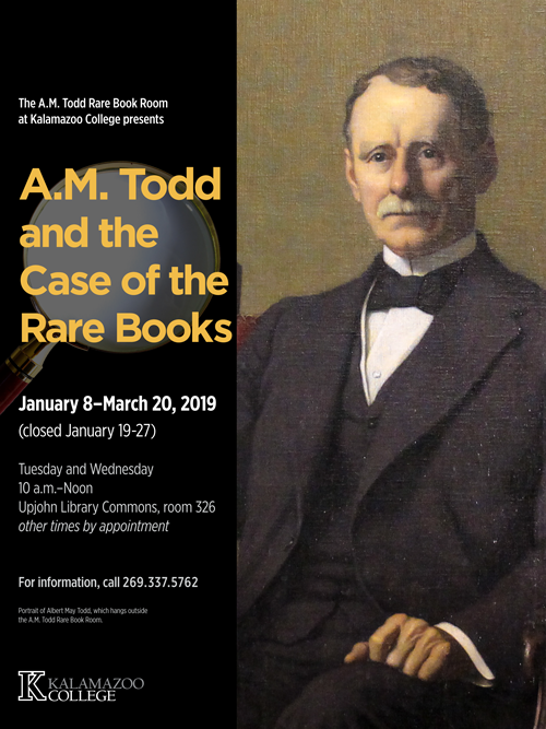 Exhibit poster featuring a portrait of A. M. Todd